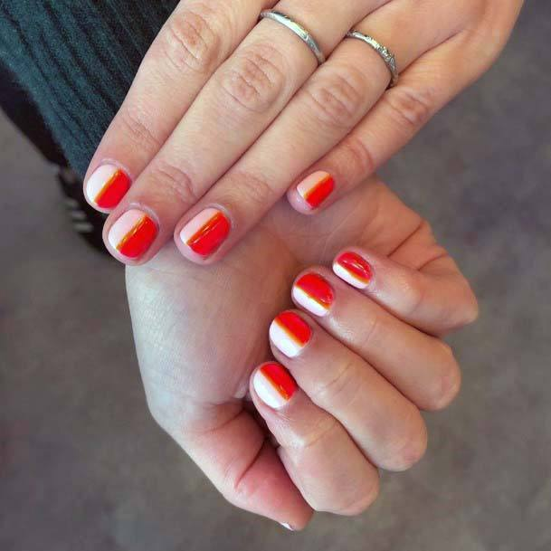 Red And Pink Two Sided Design Nails For Women