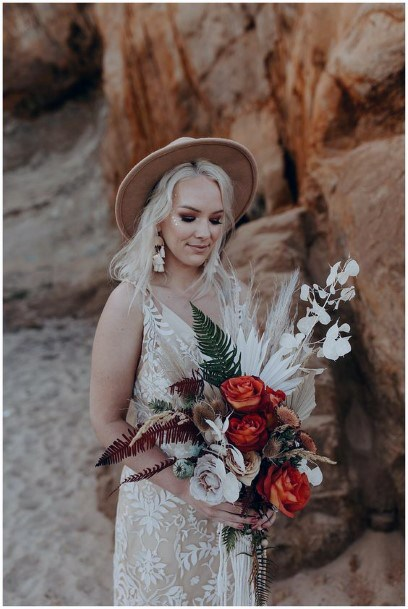 Red And White Roses Boho Wedding Flowers Bouquet