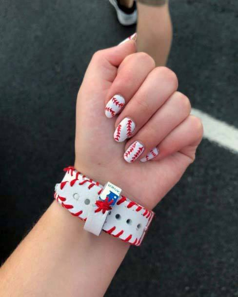 Red And White Sport Nails For Women