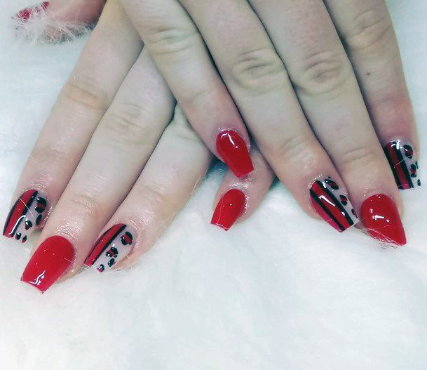 Red Black Leopard Print Nail Colors