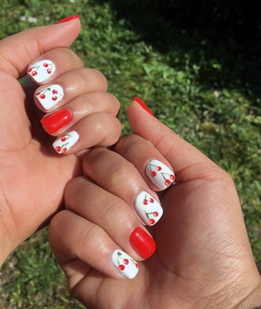 Red Cherries And Gel White Nails