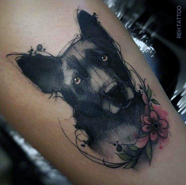 Red Flower And Dark Dog Tattoo For Women Art