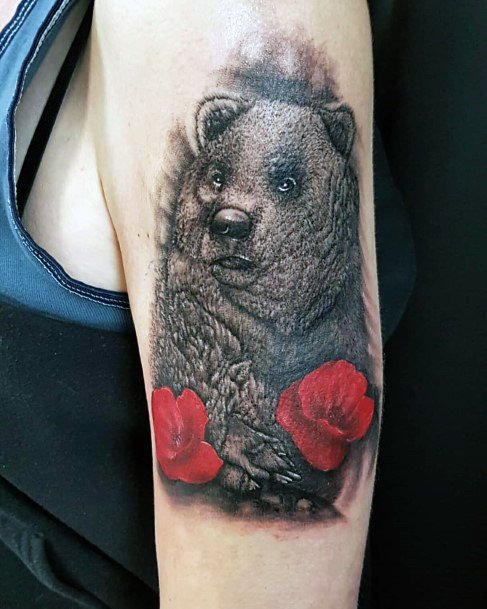 Red Flowers And Bear Tattoo Womens Arms