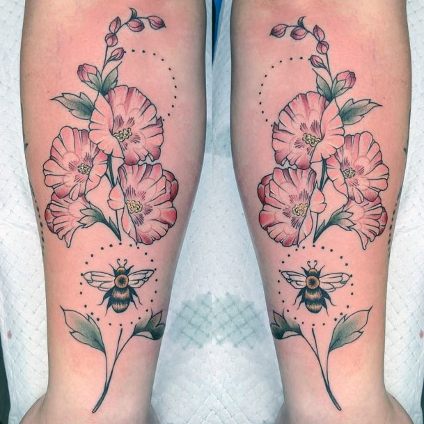 Red Flowers And Bee Tattoo For Women