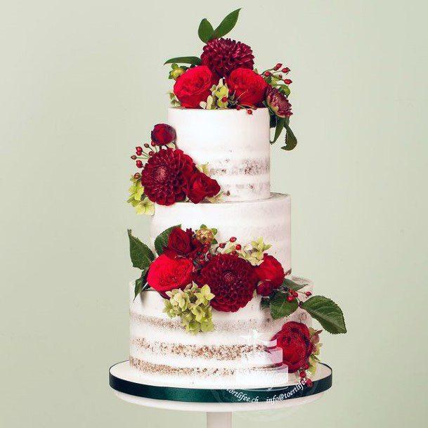 Red Flowers Decor 3 Tier Wedding Cake Women