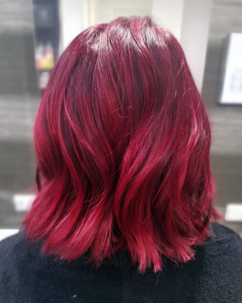 Red, Glossy, Popping Hairstyle For Women With Medium Hair Length