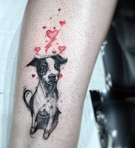 Red Hearts And Dog Tattoo For Women