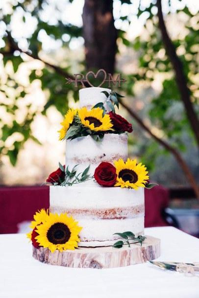 Red Roses And Sunflower Wedding Cake Women