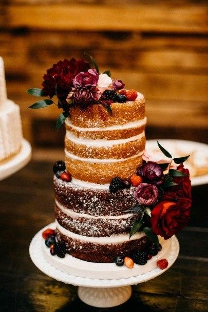 Red Roses Chocolate Wedding Cake Naked