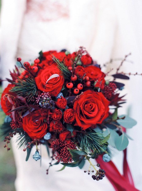 Red Roses Christmas Wedding Flowers Bouquet