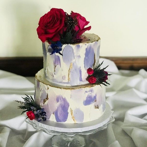 Red Roses On Purple And White Marble Wedding Cake