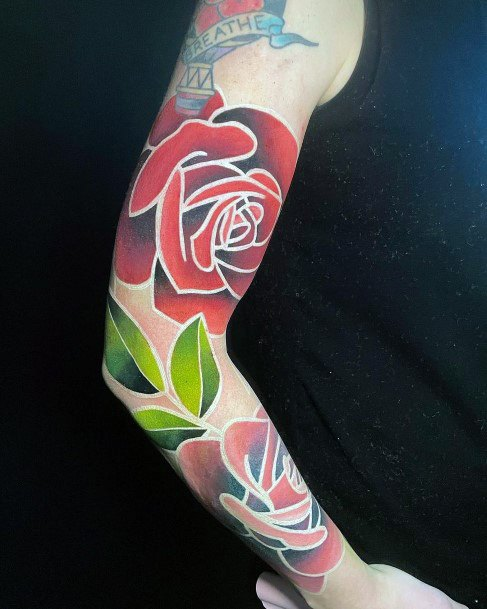 Red Roses With White Ink Border Tattoo Womens Full Sleeves