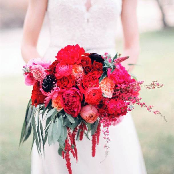 Red Shaded Wedding Flowers Bouquet