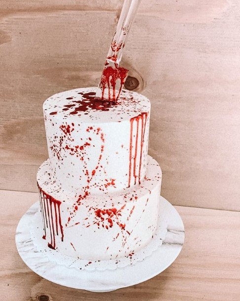 Red Streaked Halloween Wedding Cakes