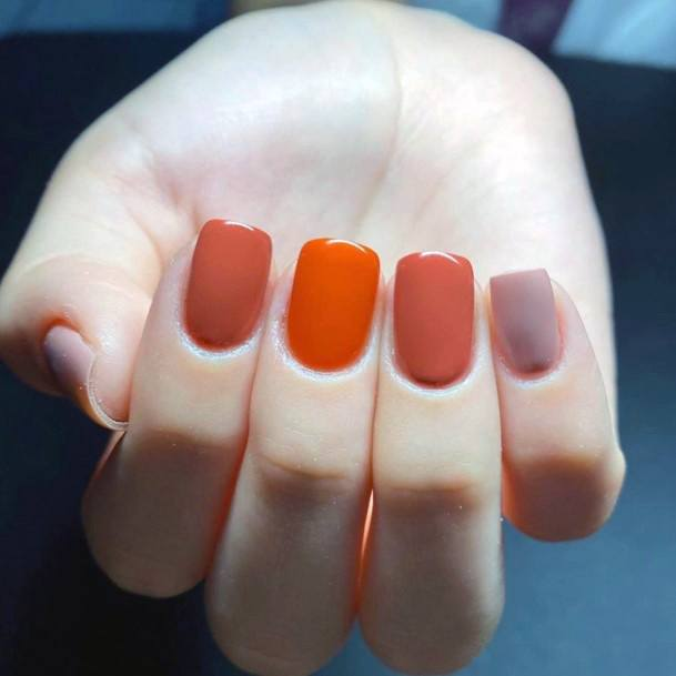 Red Toned Shellac Nails Art For Women