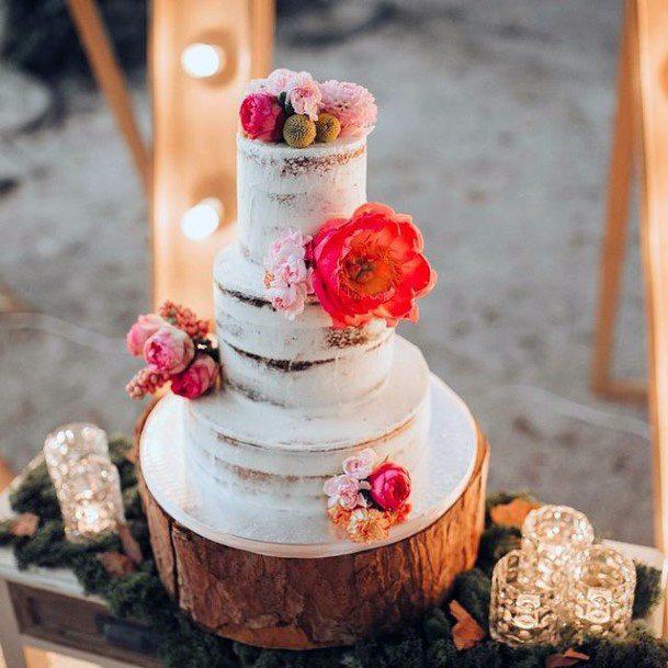 Red Velvet Rustic Wedding Cake