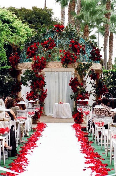 Red Wedding Flowers Arch Decorations