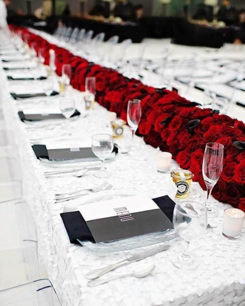 Red Wedding Flowers Table Runner