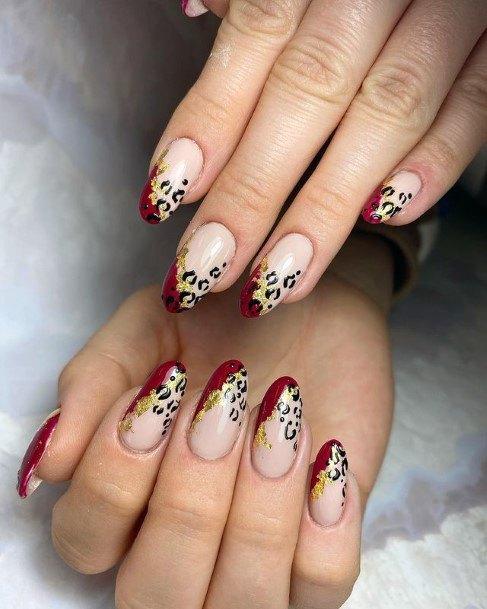 Reddish Tint Leopard Nails Women