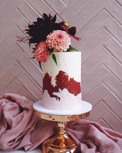 Reddish White Buttercream Wedding Cake