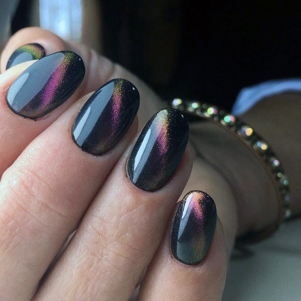 Reflecting Shine Black Shellac Nails Art For Women
