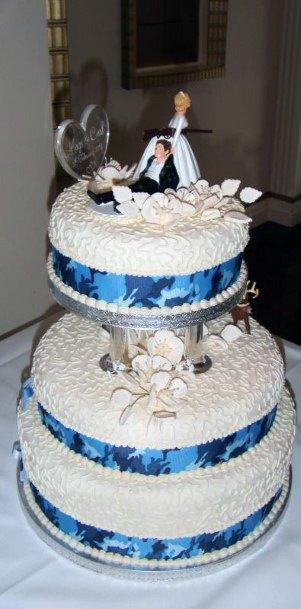 Regal Blue And White Romantic Camo Wedding Cake