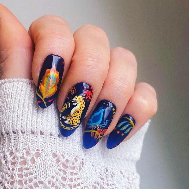 Regal Blue Yellow Leopard Nails Women