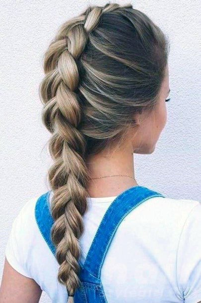 Regular Ash Toned Dutch Braid Hairstyle Women