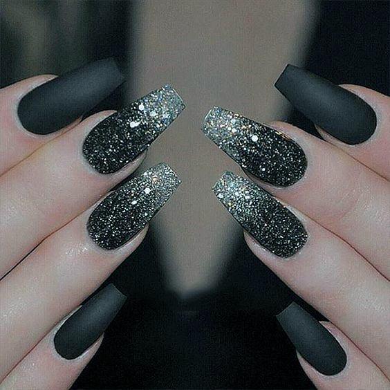 Resplendent Silver Shine On Black Nails Women