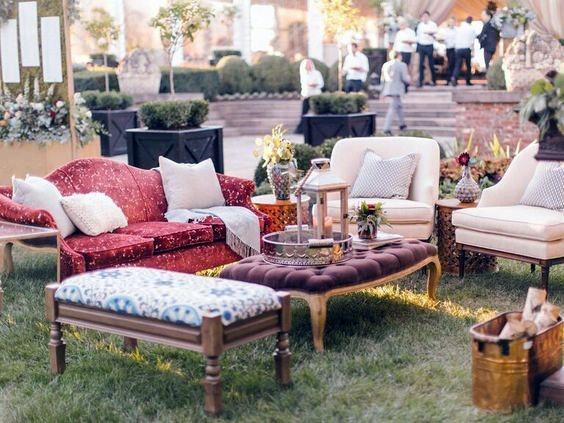 Retro Inspired Outdoor Lounge Backyard Wedding Ideas