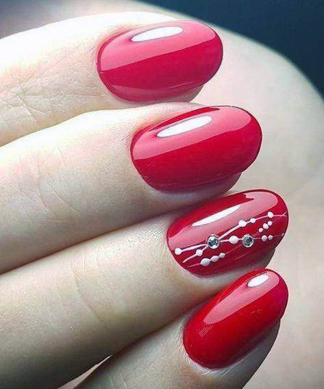 Rhinestone Art On Bright Red Nails For Women
