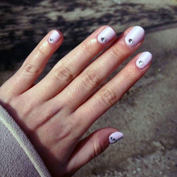 Rhinestone Design On Pink Shellac Nails For Women