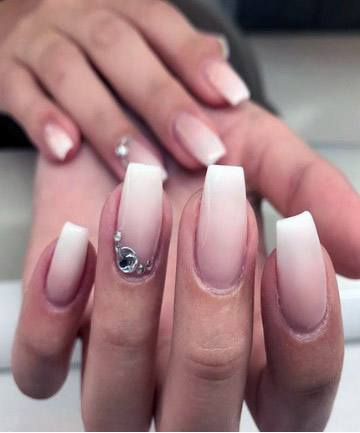 Rhinestones And White Ombre Nails Women