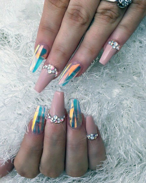 Rhinestones On Glass Nails For Women