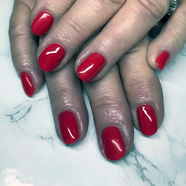 Rich Bright Red Nails For Women