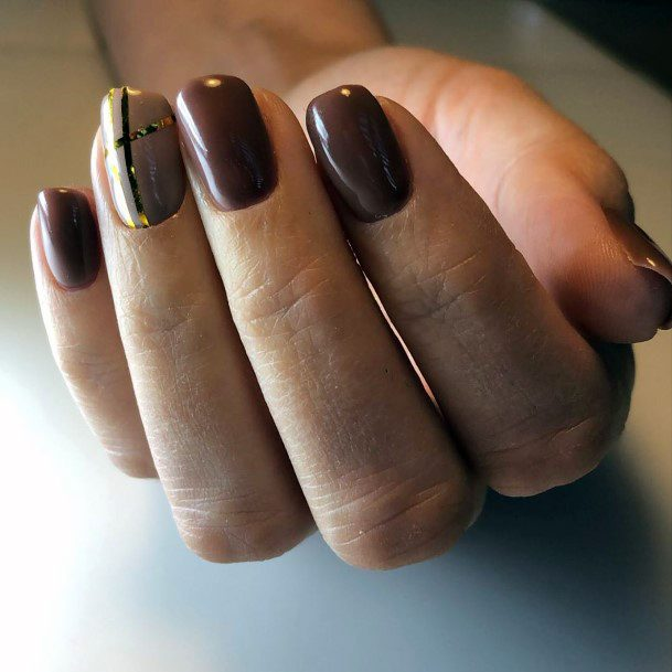Rich Chocolate Brown Nails With Golden Line Art For Women