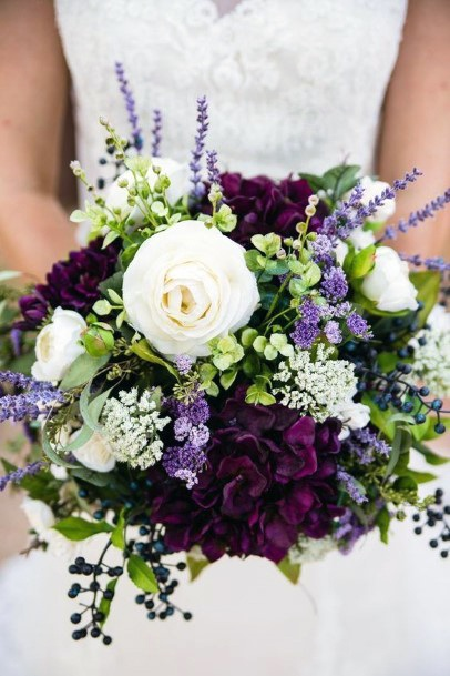 Rich Dark Lavender And White Roses Flowers Wedding