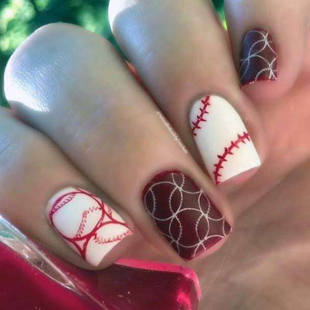 Rich Maroon And White Sport Nails For Women