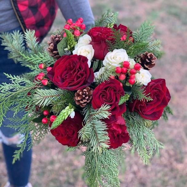 Rich Maroon Roses Christmas Wedding Flowers