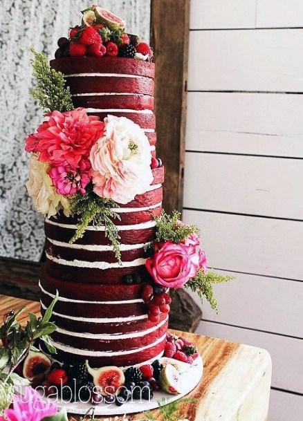 Rich Red Velvet Wedding Cake Floral Art