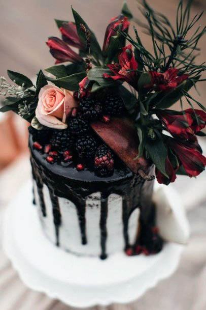 Rich Saucy Cake With Red Flowers