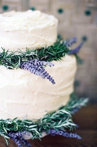 Rich White Wedding Cake With Lavender Flowers