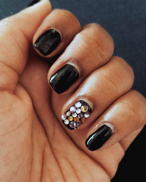 Riot Of Rhiestones On Black Nails Women