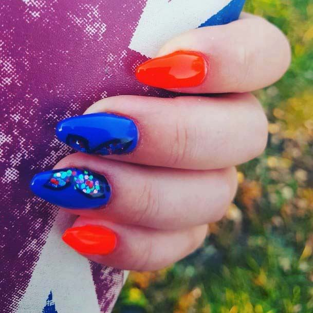Ripe Orange And Blue Nails For Women
