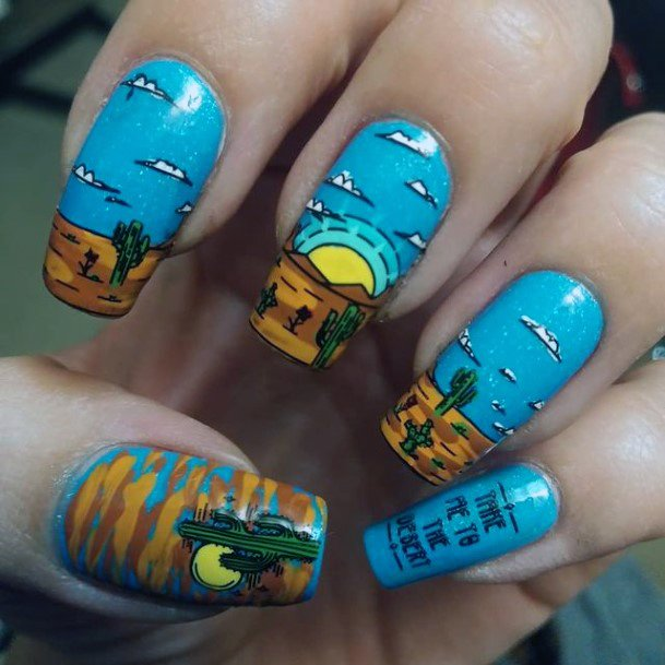 Rising Sun Mountain Peak Art Nails Cactus Blue Women
