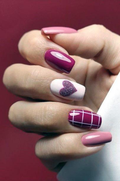 Romantic Dark Grape Colored Nails Women