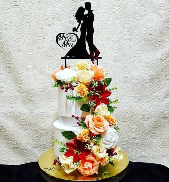 Romantic Floral 2 Tier Wedding Cake
