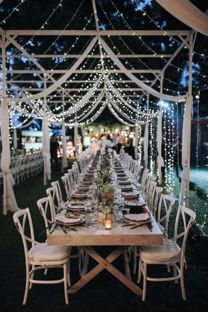 Romantic Outdoor Fairy Lights Backyard Wedding Ideas