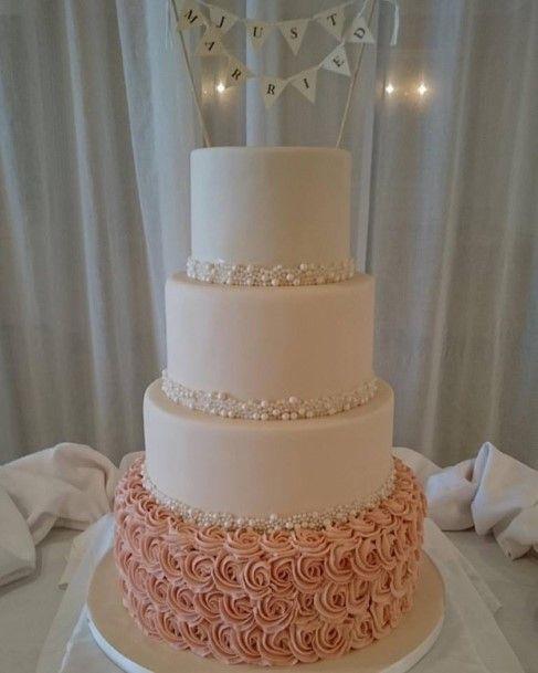 Romantic Pearl And Ruffle Wedding Cake