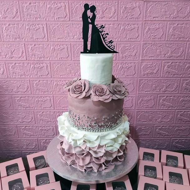 Romantic Pink White 3 Tier Wedding Cake Women